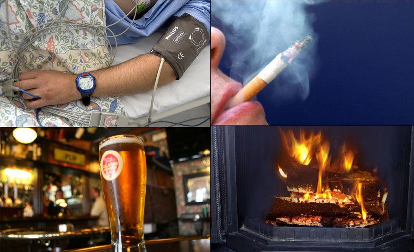 SKADER HELSEN: Høyt blodtrykk, alkoholkonsum, røyking og luftforurensing innendørs, for eksempel fra peis eller kull, er de fire faktorene som gir størst risiko for å skade folks helse. Foto: Scanpix/VG