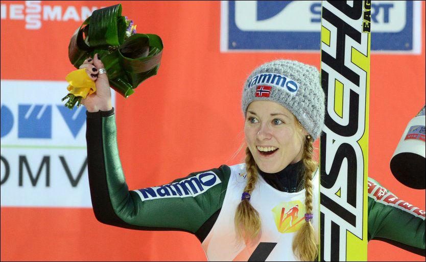 VANT: Anette Sagen tok Norges første verdenscupseier i hopp for kvinner søndag. Bildet er fra Sochi i desember. Foto: AP