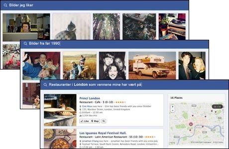 HYGGELIG: Slik foreslår Facebook selv at du kan bruke den nye søkefunksjonen: Finn bilder du selv liker, bilder fra før 1990 eller restauranter i London som vennene dine har vært på.