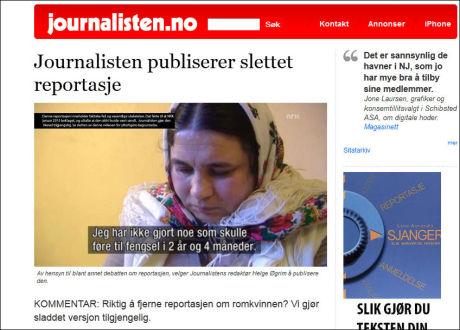 PUBLISERTE: Fagbladet Journalisten har i dag referert NRKs egen logg fra romkvinne-saken. Faksimile: journalisten.no