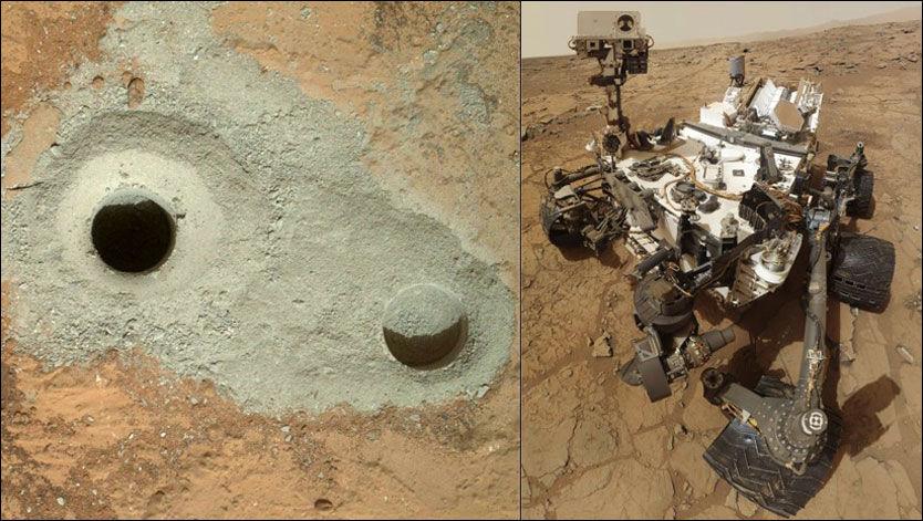 GJENNOMBRUDD: Hullet til venstre er bare 1,6 centimeter bredt og 6 centimeter dypt, men regnes som et stort gjennombrudd. Til høyre er NASAs romsonde «Curiosity», som står bak boringen. Foto: NASA/REUTERS/AFP
