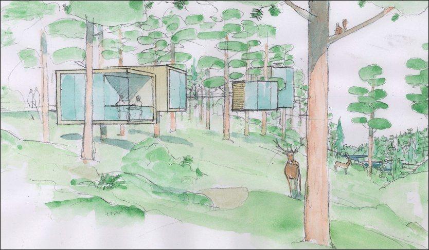 """SOVESTED: Skissene over den planlagte dyreparken i Enebakk er klare. Å la gjestene sove i trehytter midt blant dyrene er en av opplevelsene """"Dyrenes Rike"""" ønsker å tilby. Tegning: Jon Thorstensen/B16"""