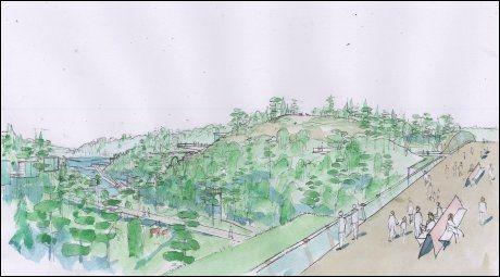 DALEN: Denne broen er planlagt å gå over dalen der parken skal ligge. Tegning: Jon Thorstensen/B16