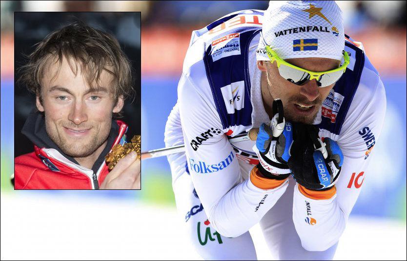 FÅR NORTHUG-SKRYT: Petter Northug lot seg imponere over det han så av Johan Olsson på femmila i dag. Foto: Reuters/NTB Scanpix