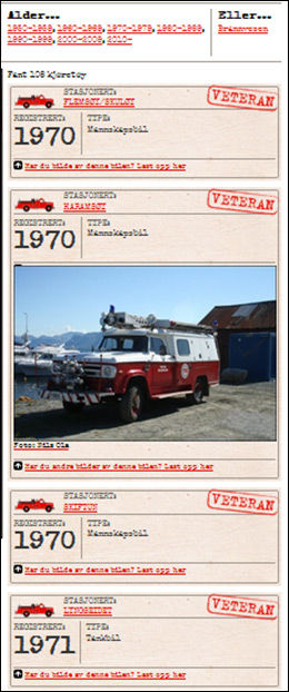 HEDRET: VGs brannbilkartlegging. Foto: SKJERMDUMP