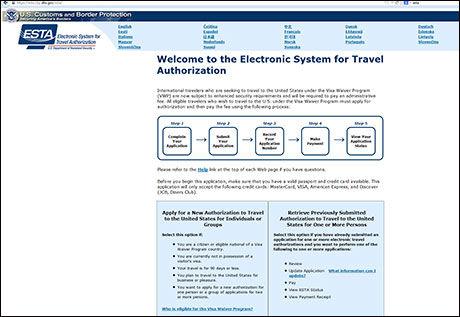 BRUK DENNE: Slik ser den offisielle ESTA-siden ut. Foto: Faksimilie