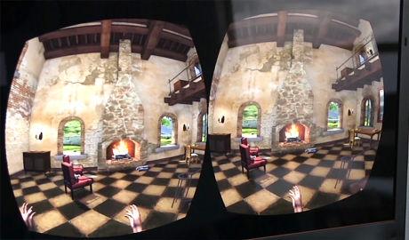 TOSCANA: Oculus Rift har to små skjermer, en på hvert øye, som sitter så tett på øynene at det man ser oppfattes som virtual reality. Foto: VGTV