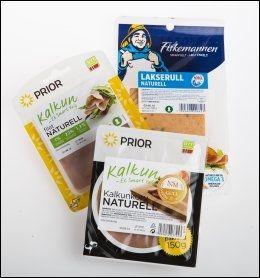 Kjøttpåleggene Prior Kalkunfilét naturell, Prior Kalkunkorv naturell, Fiskemannen lakserull naturell.