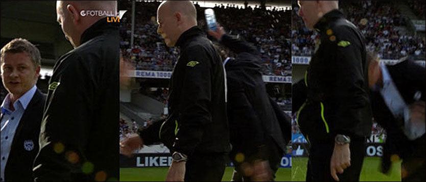 KASTET FLASKE: Ole Gunnar Solskjær kastet en halvliters flaske med vann i bakken bak ryggen på fjerdedommeren etter at Moldes Martin Linnes fikk rødt kort. Foto: C More