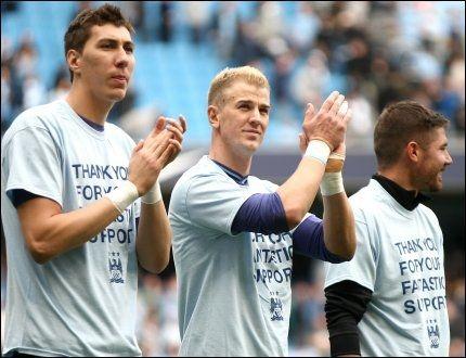STARTER MLS-KLUBB: Manchester City, her representert ved Costel Pantilimon (t.v), Joe Hart og Javi Garcia blir hovedeier i en ny MLS-klubb. Foto: NTB Scanpix / PA Photos / Coombs Barrington