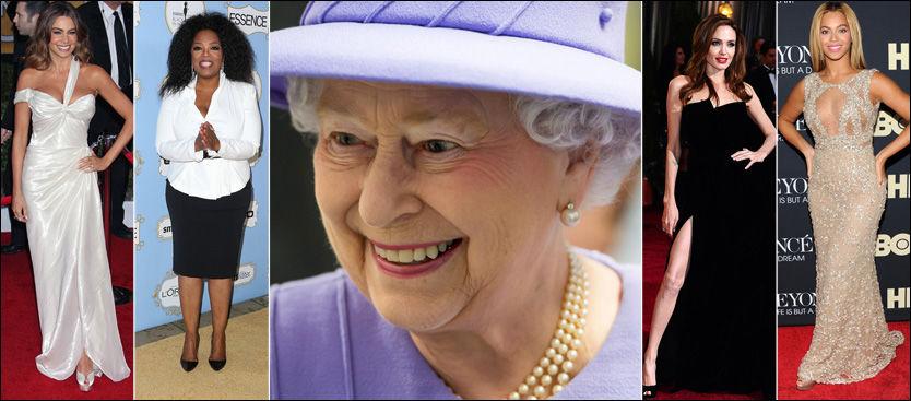 MEKTIGE KVINNER: Sofia Vergara, Oprah Winfrey, Angelina Jolie og Beyoncé er alle mektigere enn Storbritannias dronning Elizabeth, ifølge Forbes. Foto: AP / AFP / PA