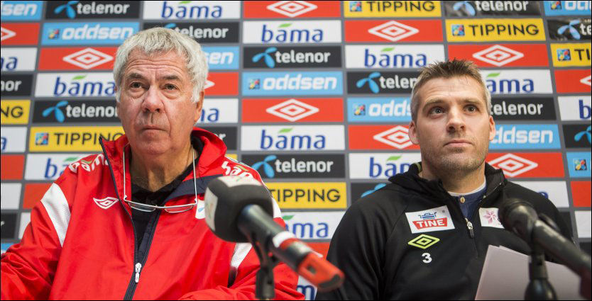 TOK UT EM-TROPPEN: Mens Egil Drillo Olsen og A-landslaget skal møte Albania, reiser Tor Ole Skullerud og U21 til Israel for å spille EM i juni. Bildet er fra en pressekonferanse tidligere i år. Foto: Scanpix