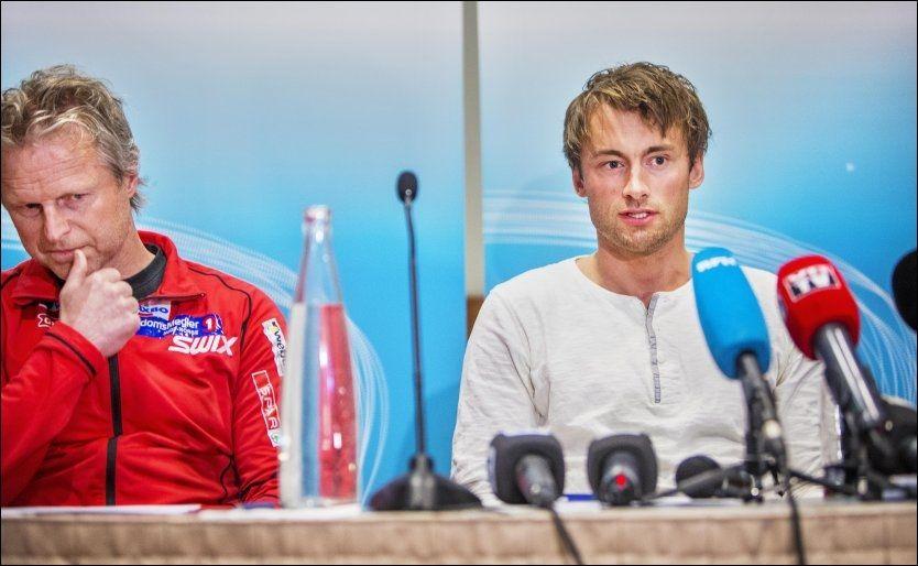 KLAR FOR COOP: Petter Northug sammen med Åge Skinstad på Værnes 15. mai. Da ble det klart at Northug skal stå utenfor landslaget. Foto: Øyvind Nordahl Næss, VG