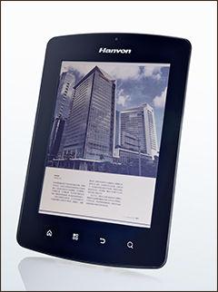 Denne ebok-leseren fra kinesiske Hanvon kom i januar 2012, og benyttet en Mirasol-skjerm på 1024x768 punkter. Foto: Qualcomm