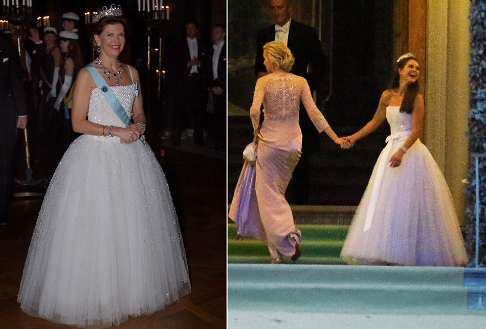 205cc4ef SOM ET SKUDD: Eneste forskjellen på kjolen er at prinsesse Madeleine brukte  den med silkebånd