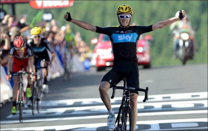 VANT I FJOR: Chris Froome havnet i skyggen av lagkamerat Bradley Wiggins under fjorårets Tour de France, men vant likevel den 7. etappen. I år er ikke Wiggins med og Froome seiler opp som favoritt til å vinne rittet. Foto: Pete Goding, Pa Photos