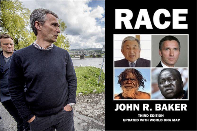 UVITENDE: Jens Stoltenbergs kontor var ikke klar over at statsministerens ansikt var brukt på coveret til en omstridd bok av John R. Baker. Foto: Stian Lysberg Solum / NTB scanpix/ Faksimile