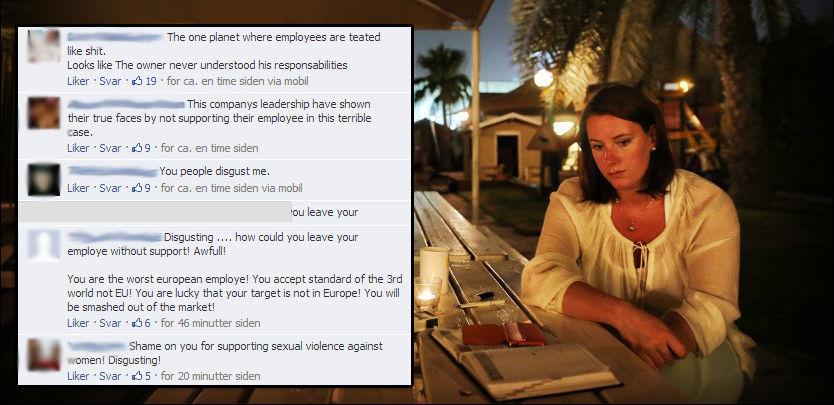 RASENDE: På Facebook-siden til selskapet som samarbeider med selskapet som sparket Marte Deborah Dalelv (24) etter voldtektsanmeldelsen strømmet det kraftige reaksjoner inn hvert minutt. Foto: Facebook/Mattis Sandblad.
