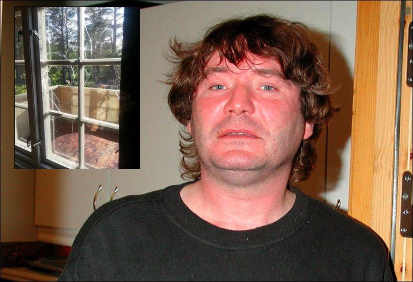 TATT - IGJEN: Terje Larsen, kjent som «Vandreren». Her er han fotografert i arresten i Lillehammer etter at han ble pågrepet i Skjåk i 2005. Bildet innfelt viser soveromsvinduet etter innbruddet han nå er siktet for. Foto: TERJE LISØDEGÅRD/PRIVAT