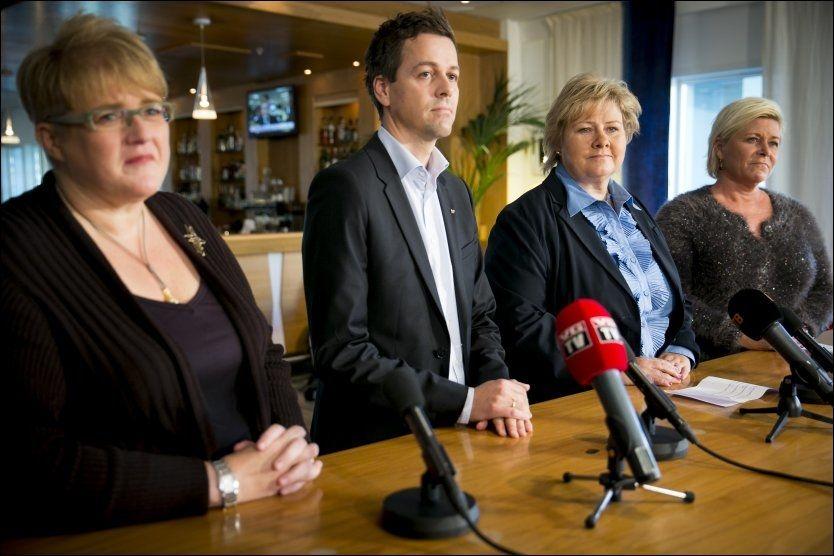 SURE MINER: KrF-topper er klare på hvilket råd de vil gi partiledelsen i dag: Dropp et firepartisamarbeid der Frp er med i regjering. Foto: Scanpix