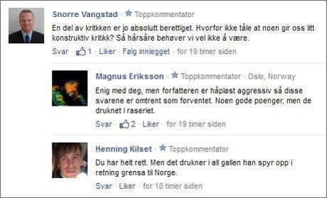 MANGE SVAR: Snorre Vangstad er én av flere som i VGs kommentarfelt mener vi nordmenn må tåle kritikken. Foto: Faksimile