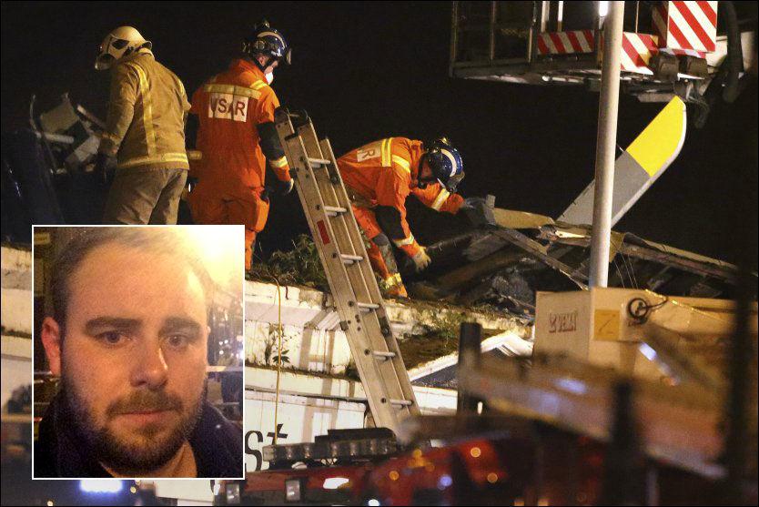 PÅ STEDET: Andreas Rød-Løkkevold (24) var natt til lørdag på ulykkesstedet, som ligger et par hundre meter fra hjemmet hans i Glasgow. Foto: AP/PRIVAT