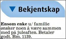 VILLE BETALE: Reiduns annonse i november i fjor traff svært mange nordmenn rett i hjertet. Foto: Faksimile Aftenposten Aften 22.11.13