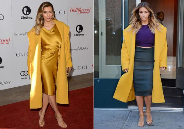 a14712f3 KUL I GUL: Kardashian har flere ganger brukt denne gule kåpen fra motehuset Max  Mara