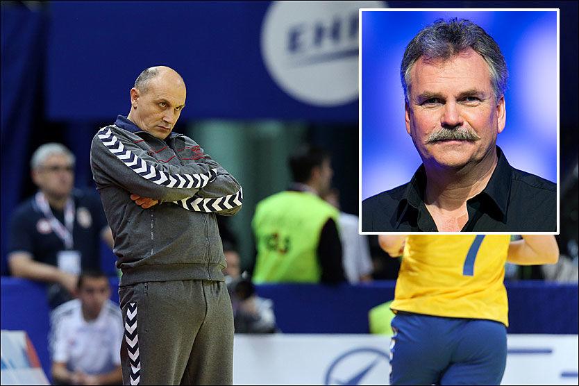 IRRITERT: Serbias landslagssjef, Sasa Boskovic (t.v.) var tydelig irritert da han ble konfrontert med uttalelsen til TV 2-profil Harald Bredeli torsdag ettermiddag. Foto: Scanpix