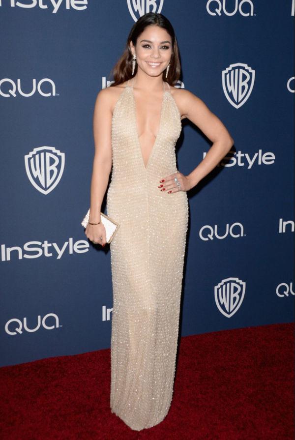01d6052b DYP UTRINGNING: Vanessa Hudgens kombinerte den dypt utringede Armani-kjolen  med røde negler og