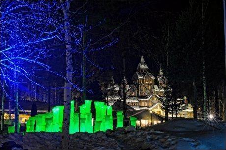MAGISK VINTERPARK: Fra Hafjell er det kort vei til eventyrlige vinteropplevelser i Hunderfossen vinterpark. Foto: ESBEN HAAKENSTAD.