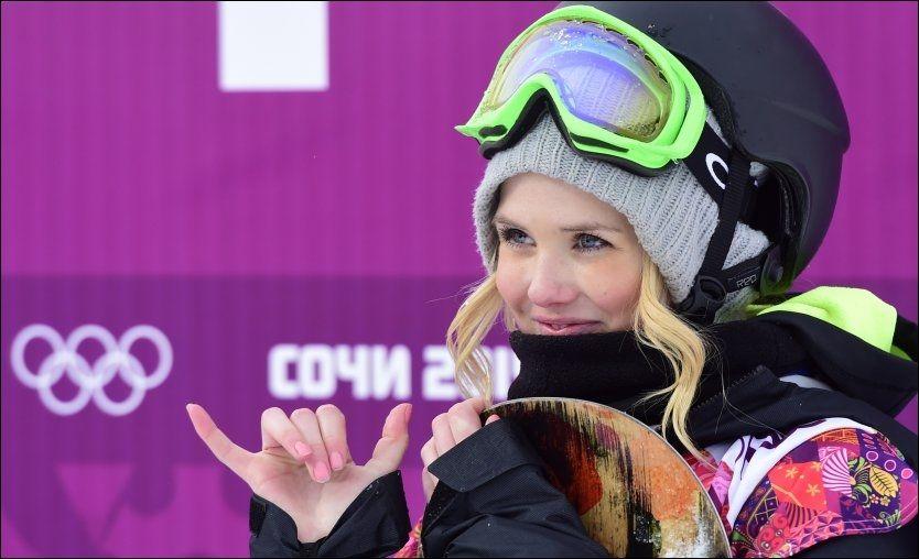 MISSET: Silje Norendal falt da hun skulle sette sitt andre run og det ble dermed ingen medalje på henne. Hun smilte likevel i målområdet. Foto: Afp