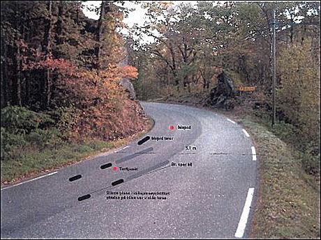 ULYKKESSTEDET: Fra rekonstruksjonen av ulykken utenfor Lyngdal 6. juni 1998. Foto: Politiet