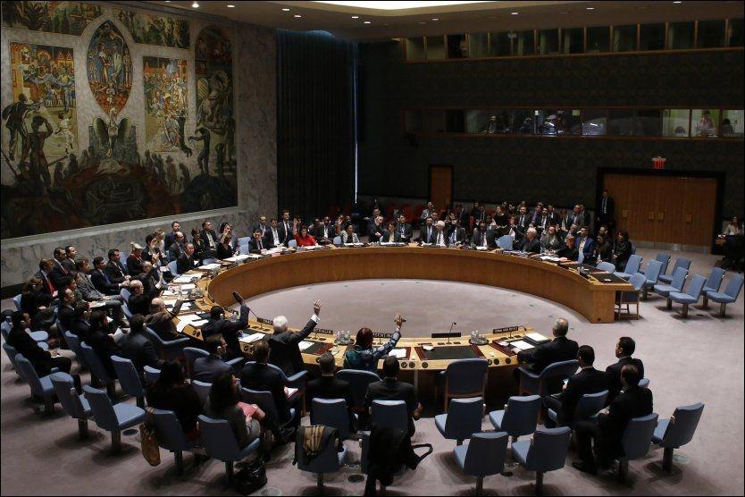 ENSTEMMIG VEDTATT:Sikkerhetsrådet ble lørdag enige om en Syriaresolusjon i FNs hovedkvarter i New York. Foto: Reuters