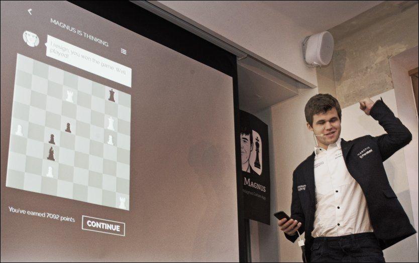 CARLSEN MATTER CARLSEN: Magnus Carlsen hadde små problemer med å slå 12-årsutgaven av seg selv.