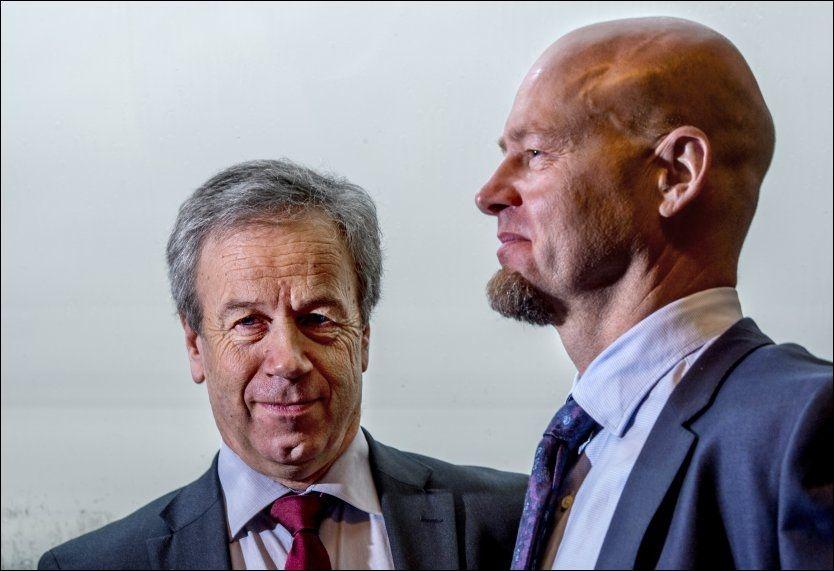 MAKTENS MENN: Oljefondsjef Yngve Slyngstad (til høyre) og Norges Banksjef Øystein Olsen har en plan. Foto: Helge Mikalsen