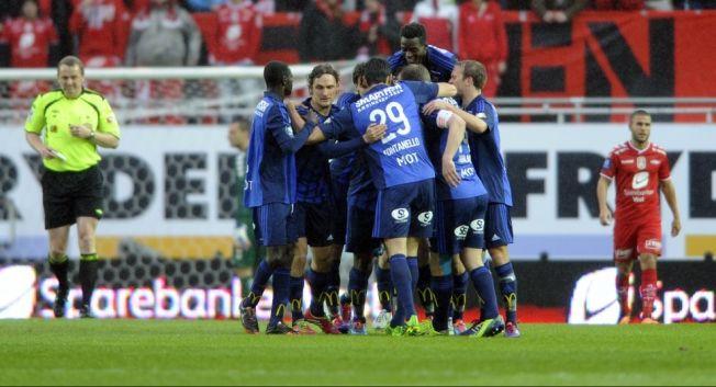OVERRASKET I BERGEN: Stabæk-spillerne kunne juble for to mål og tre poeng i Bergen. Foto: Scanpix