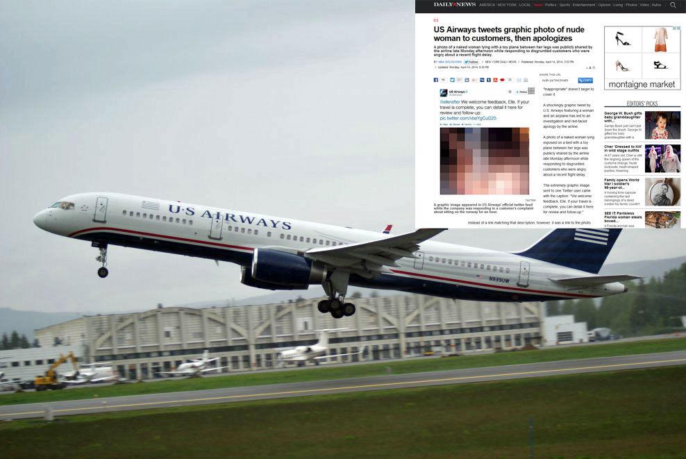 TWITTERFLAUSE: Mandag dummet det amerikanske flyselskapet US Airways seg ut. Nå etterforsker de hendelsen internt i selskapet. Foto: Jan Ovind / Faksimile Daily News