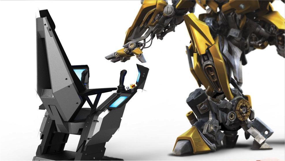 SUPERSTOLEN: Denne stolen dukker opp i en birolle i «Transformers: Age of Extinction». Fotomontasje: Hareide design/UIP