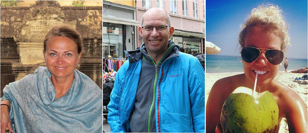 REISEBLOGGERE: Mette Solberg Fjeldheim, Odd Roar Lange og Maria K. Ebbestad mener alle at en god reiseblogg inneholder mer bilder enn tekst. De mener også at en god reiseblogger må være nysgjerrig og interessert i stedet man besøker og folkene der. Foto: Privat
