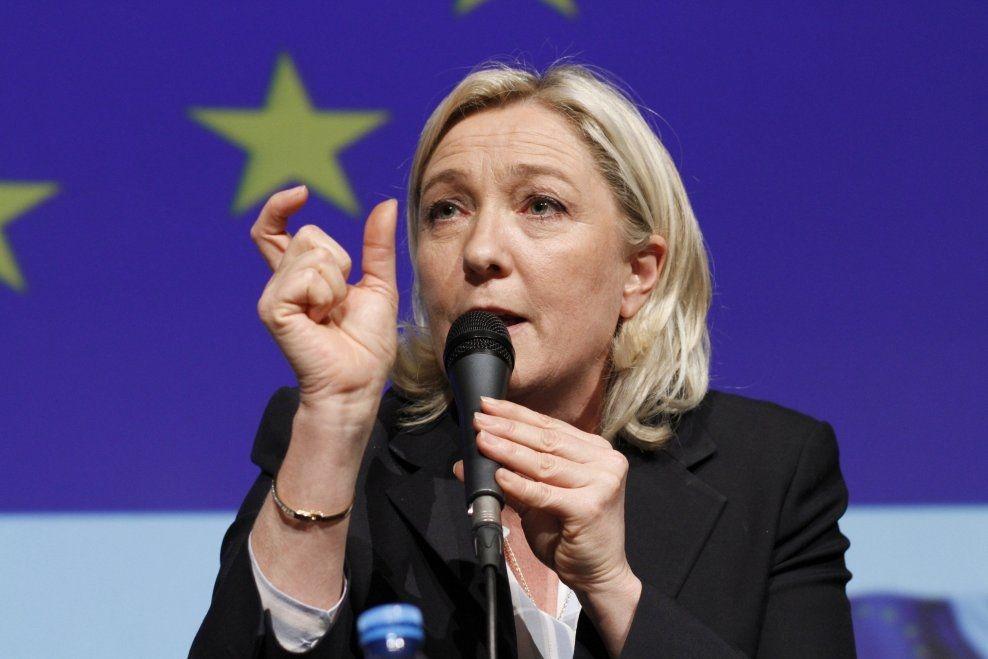 VALGVINNER: Nasjonal front og leder Marine Le Pen er EU-valgets store vinner i Frankrike, viser en fersk valgdagsmåling. Foto: Kristofer Sandberg
