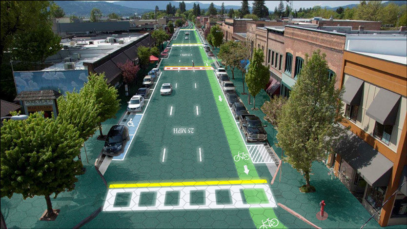LYSENDE MERKING: Simulering av hvordan en vei dekket med lysende oppmerking kan se ut. Grafikk: Sam Cornett/Solar Roadways