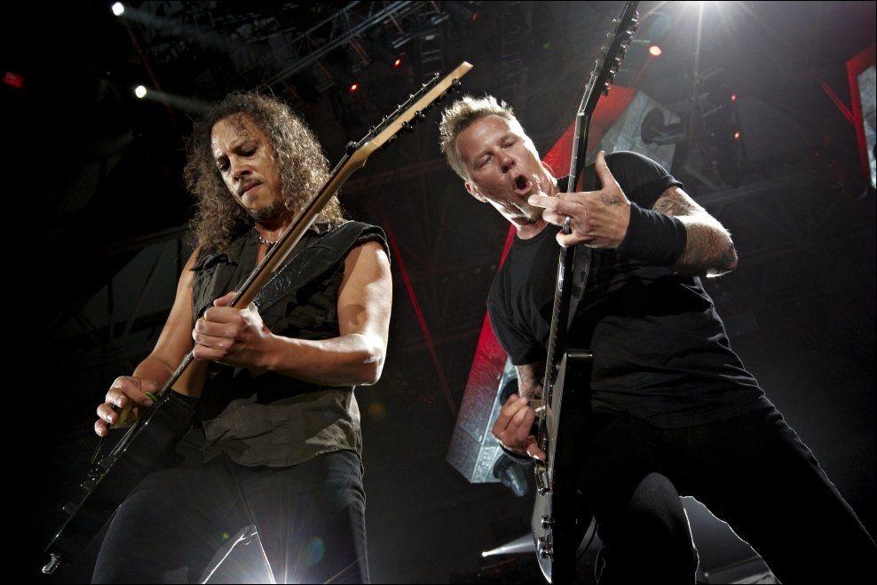 2010: For fire år siden besøkte Metallica Telenor Arena. To år senere var de på Valle Hovin, og nå er de tilbake igjen. Fra venstre: Kirk Hammett og James Hetfield. Foto: ESPEN SJØLINGSTAD HOEN/VG