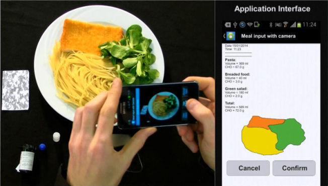 <p>Her vises en prototype av den kommende GoCarb-appen. Brukeren tar bilde av måltidet sitt, og appen (til høyre) gjenkjenner så ulike typer næring på tallerkenen. Ut fra dette kalkuleres insulinnivå og om du får i deg for mye eller for lite karbohydrater.<br/></p>