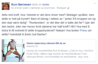 KRITISK: Runi Børresen ved Høgskulen i Buskerud og Vestfold mener videoen fremmer usunne idealer. På Facebook la hun ut dette innlegget tidligere i dag. Foto: Skjermdump
