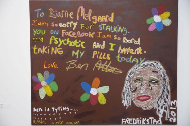 <p><b>FÅ KJENDISER:</b> Bjarne Melgaard er den eneste kunstkjendisen på Høstutstillingen, men han er kun til indirekte til stede i Ben Allals maleri «Dear Bjarne».</p>