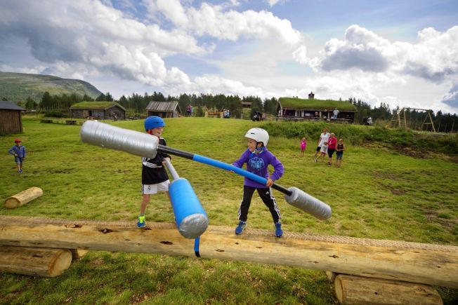 <p>TØFFE TAK: Torgrim Øyjordet (med blå hjelm) og Sander Sandvær i hard duell på Kalven seter i Vågå. Flere av de nye gårdsaktivitetete er inspirert av «Energikampen» på TV.</p>