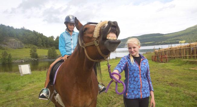 <p>FOTO-GLIS: Også firbente Maja fryder seg når gjestene strømmer til Kalven seter. Navnesøster Maja Randen har feriejobb som hestepasser, mens 11 år gamle Mina Haug Stebergløkken har gledet seg lenge til rideturen i fjellet.</p>