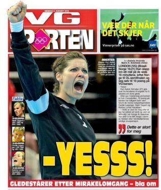 <p>BRASIL-SUKSESSEN: Slik så fronten på VG-sportens papirutgave ut etter at Kari Aalvik Grimsbø hadde reddet 14 av 22 brasilianske skudd under London-OL.<br/></p>