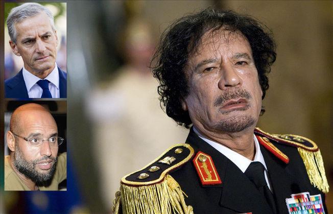 <p>TRODDE PÅ DIALOG: Daværende utenriksminister Jonas Gahr Støre (Ap) støttet opp om den norske militære deltagelsen i bombetoktene mot Libyas diktator Muamar al-Gaddafi. Men parallelt fulgte UD forhandlingssporet i samtaler med diktatorens sønn, Saif al-Islam.</p>